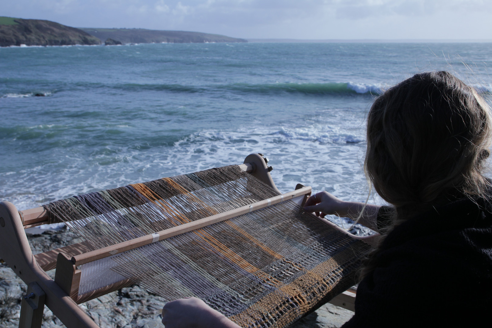 Weaving at Prussia Cove