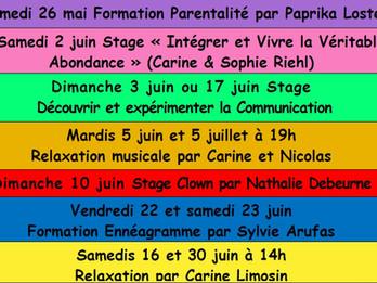 Nombreux évènements en mai et juin