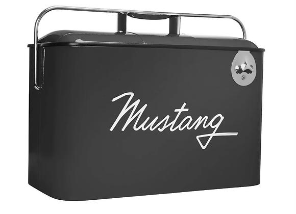 Hielera Retro Vintage Con Logo Mustang En Negro
