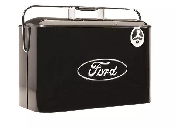 Hielera Retro Vintage Con Logo Ford En Negro