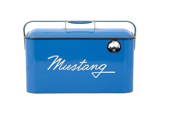 Hielera Retro Vintage Con Logo Mustang En Azul