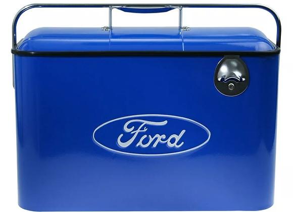 Hielera Retro Vintage Con Logo Ford En Azul
