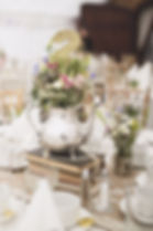 Silver Tea Pot on Stacked Books  - Wedding Table Centre Piece