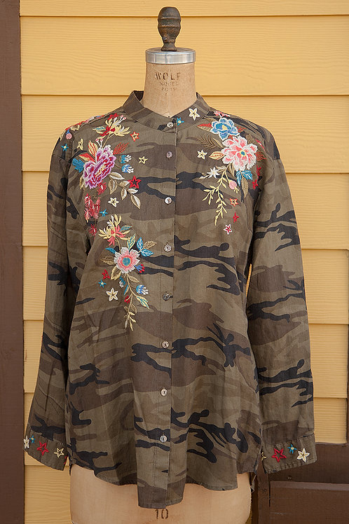 Johnny Was Camo Linen Blouse