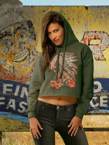 Cropped Hoodie in Green