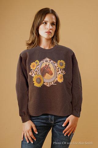 Good Luck Cheetah Dark Brown Fleece Pullover.