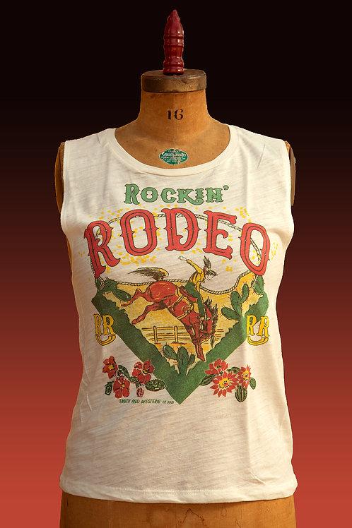 Rockin' Rodeo Slouch Tank in Ivory Slub