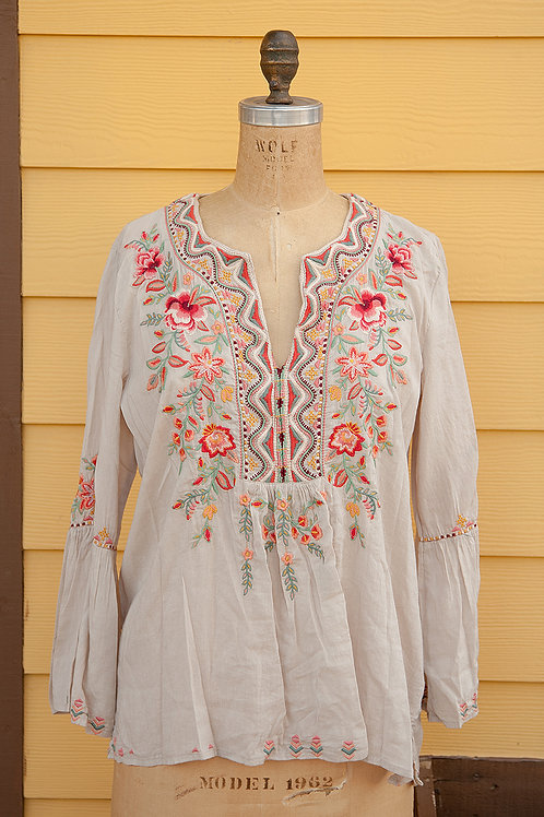 Johnny Was Cream Floral Peasant Blouse