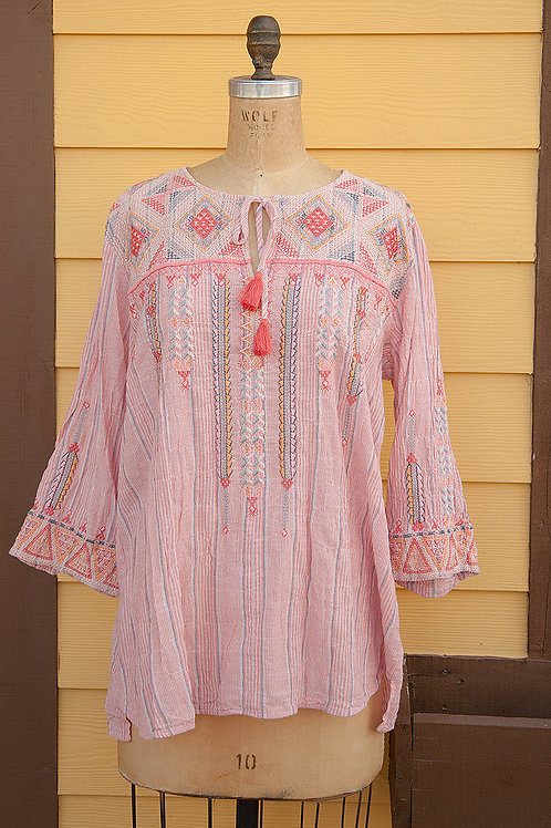 Johnny Was Pink Gauze Blouse