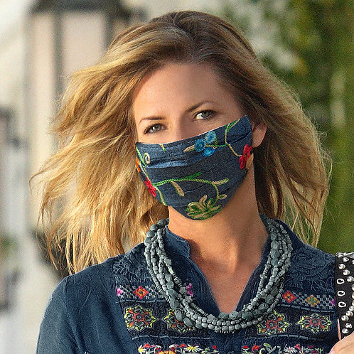 Denim And Flowers Mask