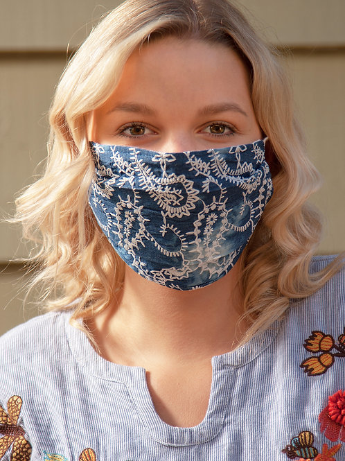 Bleached Denim And Embroidery Mask