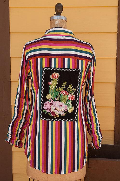 Fab Stripe Shirt with Cactus Design