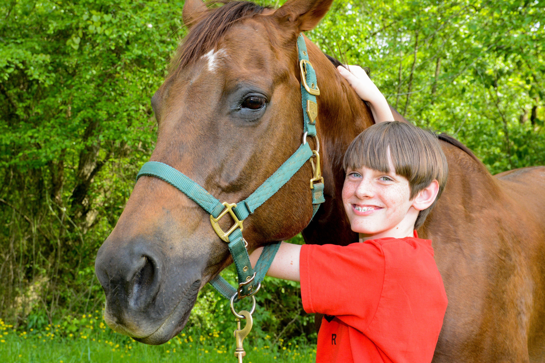 Boy hugging horse