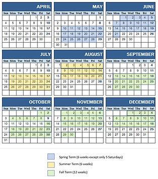 2021 Lesson Calendar