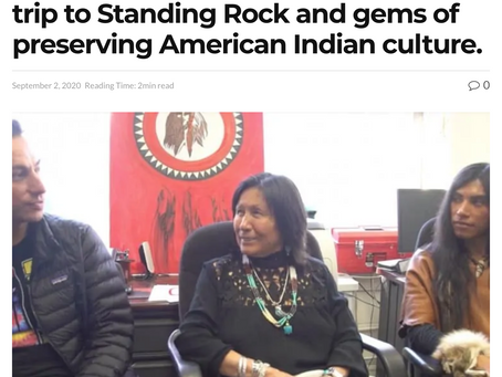 Cheryl Dupris talks with Sheldon Raymore and Sparrowhawk on their recent trip to Standing Rock.. .