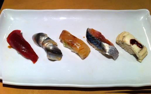 Sushi omakase (Blue fin tuna, Kohada, Nodoguro, Japanese mackerel, Sea eel)