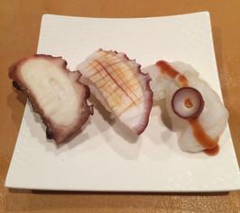 Three kinds of octopus sushi (tender octopus, octopus, fresh octopus)