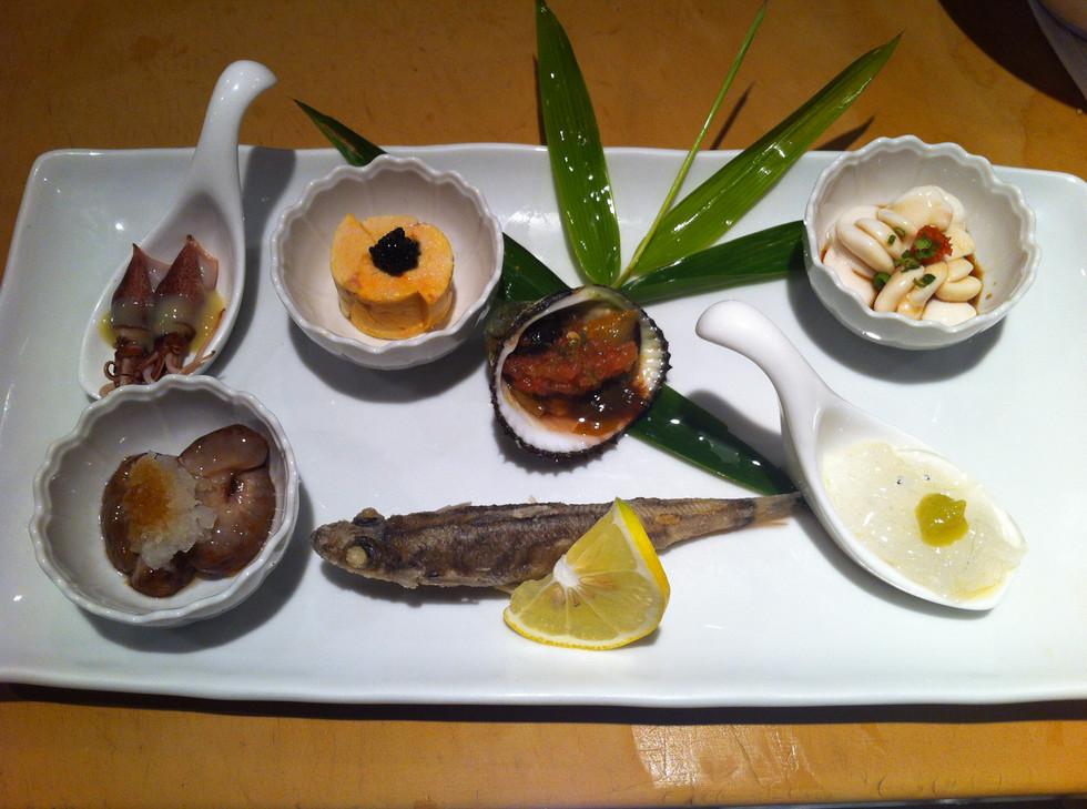 Namako, Firefly squid, Ankimo, Akagai, Shirako, Noresore (baby eel), Mehikari (Green eye fish)