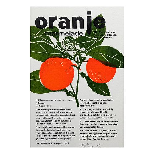 lino & letterdruk 'oranje marmalade'