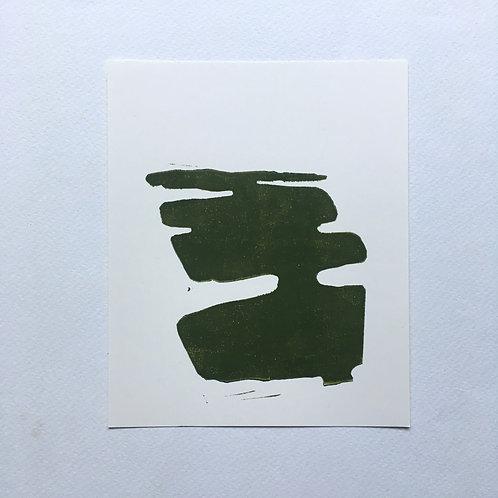 lino print - veenland (olijfgroen)