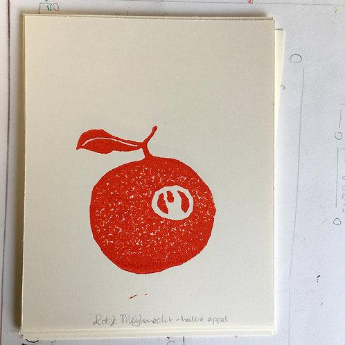 lino print - halve appel