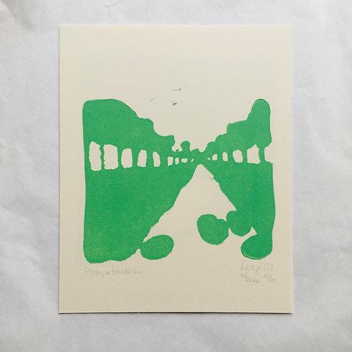 lino print - Plompebladen