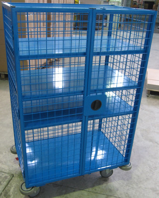 ustom wire mesh trolley manufactured and powder coated in-house!