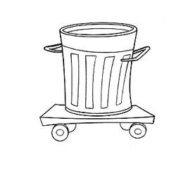 Trash can on rollers