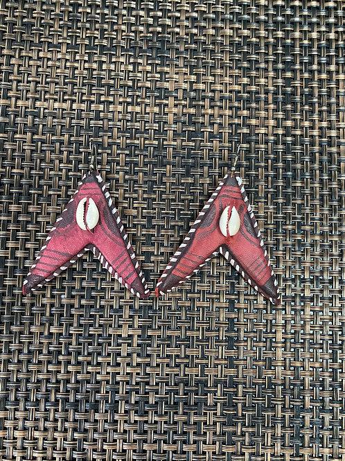 Leather African Arrow Earrings Maroon