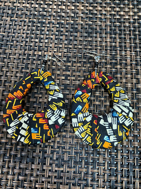 Oval Fabric African Print Earrings