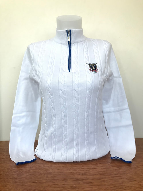 Royal Troon Logo Ladies Cable Sweater