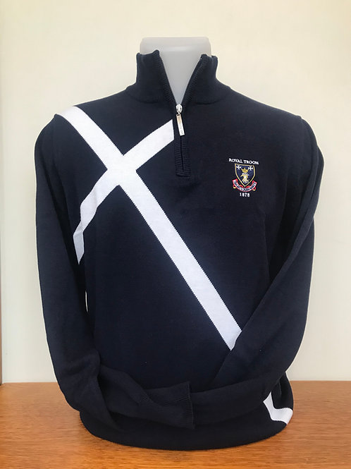 Royal Troon Saltire Sweater - Navy