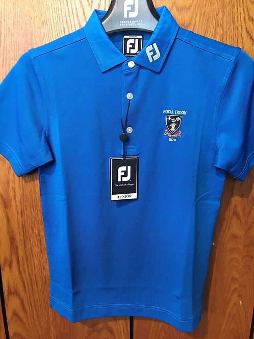 Footjoy Junior Piquet Logo Polo Shirt - Royal Blue