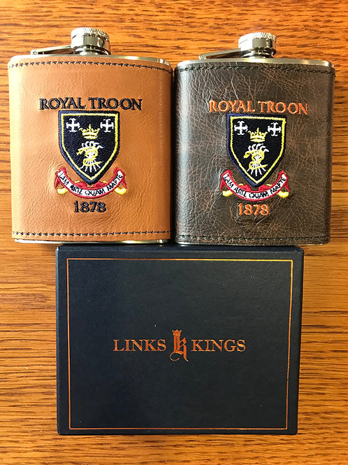 Royal Troon Leather Hip Flask