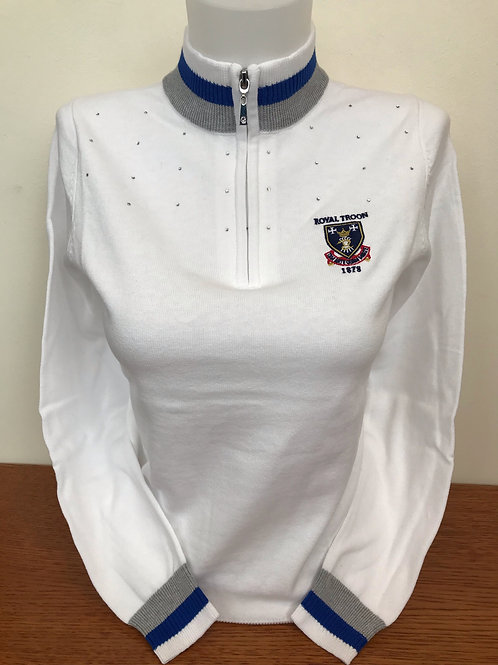 Ladies Gaelle Diamonte Sweater - White