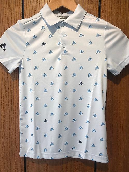 Adidas Junior Scatter Logo Polo Shirt - Sky