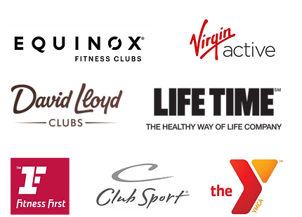 Equinox Fitness, Virgin Active, David Lloyd Clubs, Life Time Fitness, Fitness First, Club Sport, YMCA logos