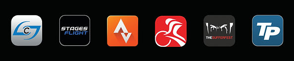 Stages Power app, Stages Flight app, Strava app, Trainer Road app, The Sufferfest app, Traning Peaks app