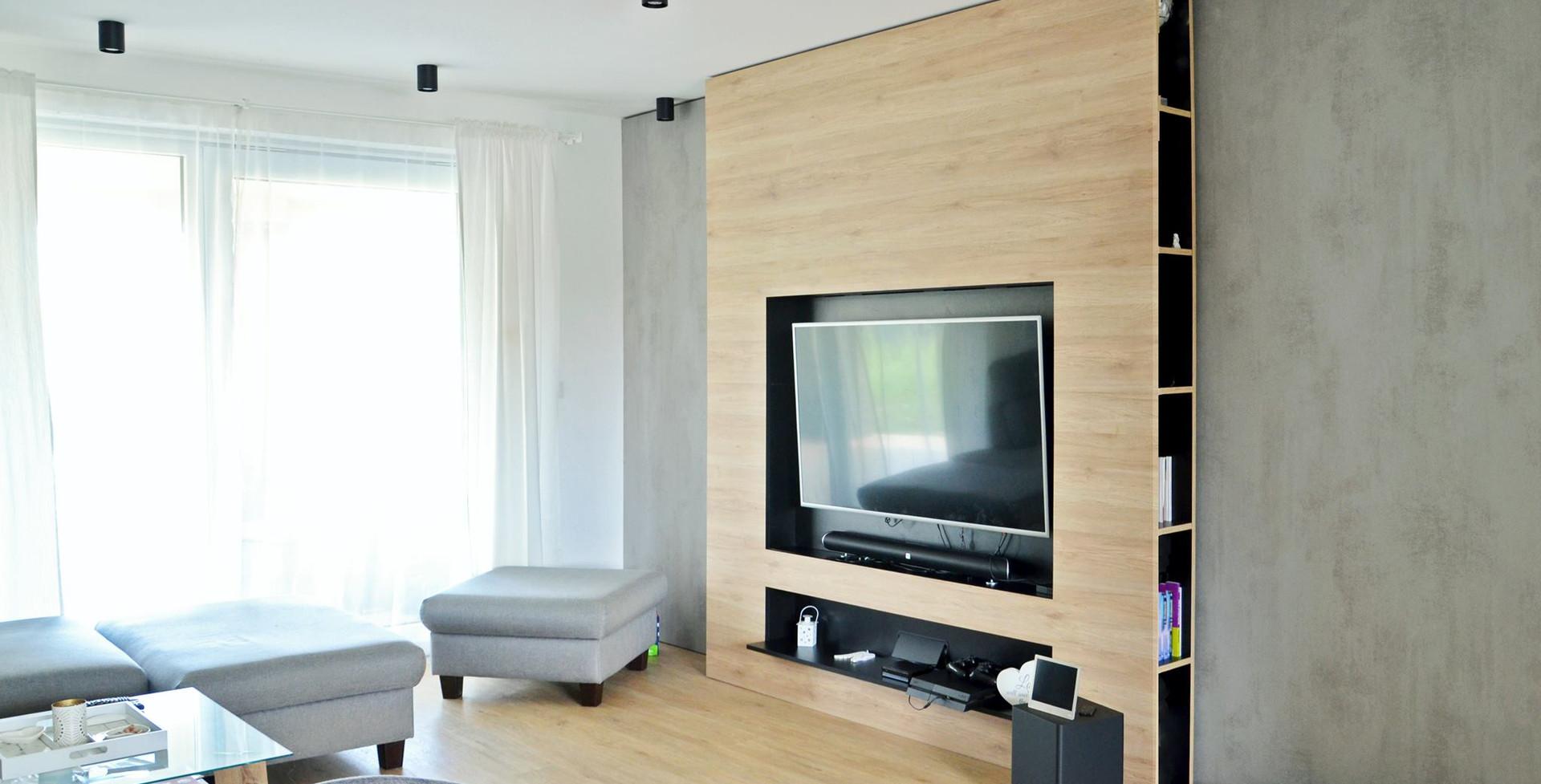fotografie realizace: obývací pokoj - TV stěna