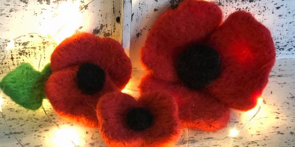 Needle felting poppy brooch at Changes Coffee Shop