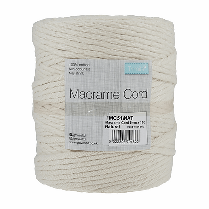 Trimits TMC51 Macramé Cord: 140m x 5mm: 1kg: Natural