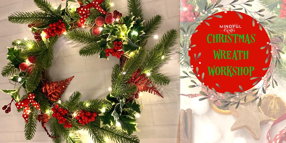 Christmas wreath making workshop at Hobbycraft, Solihull