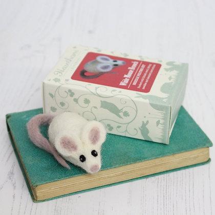 White Mouse Brooch Needle Felting Kit - Hawthorn Handmade