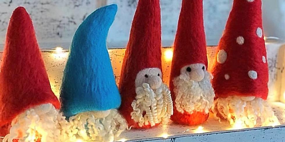 Needle felting Christmas Gnome workshop at Hobbycraft, Solihull