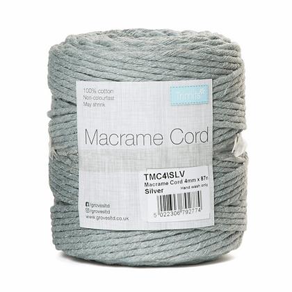 Trimits TMC4\SLV Macramé Cord: 87m x 4mm: 0.5kg: Silver