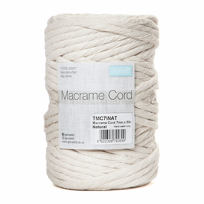 Trimits TMC7 Macramé Cord: 50m x 7mm: 0.5kg: Natural