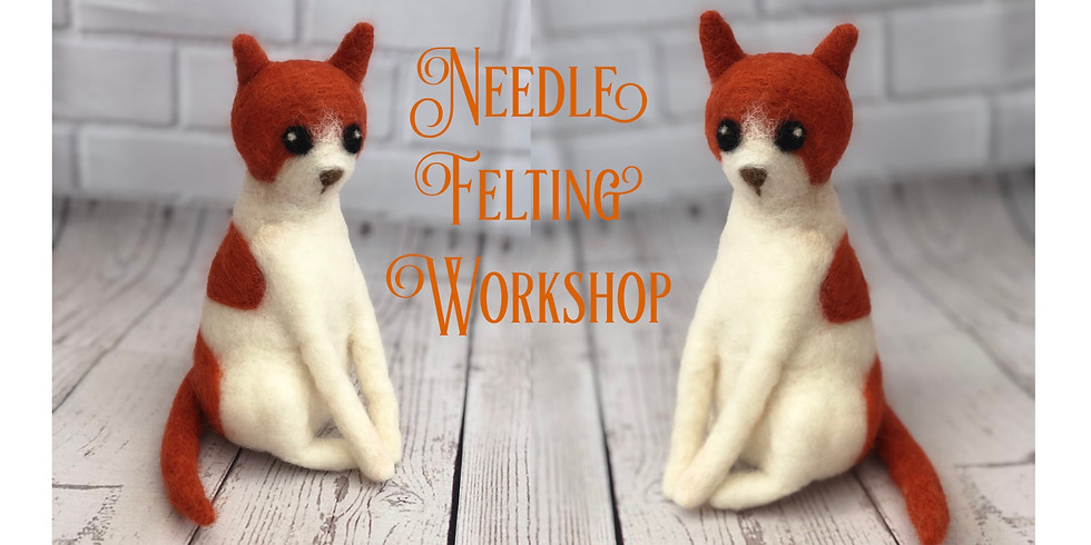 Needle Felting Cat workshop at The Creative Coffee Hub