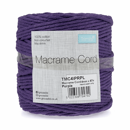 Trimits TMC4\PRPL Macramé Cord: 87m x 4mm: 0.5kg: Purple