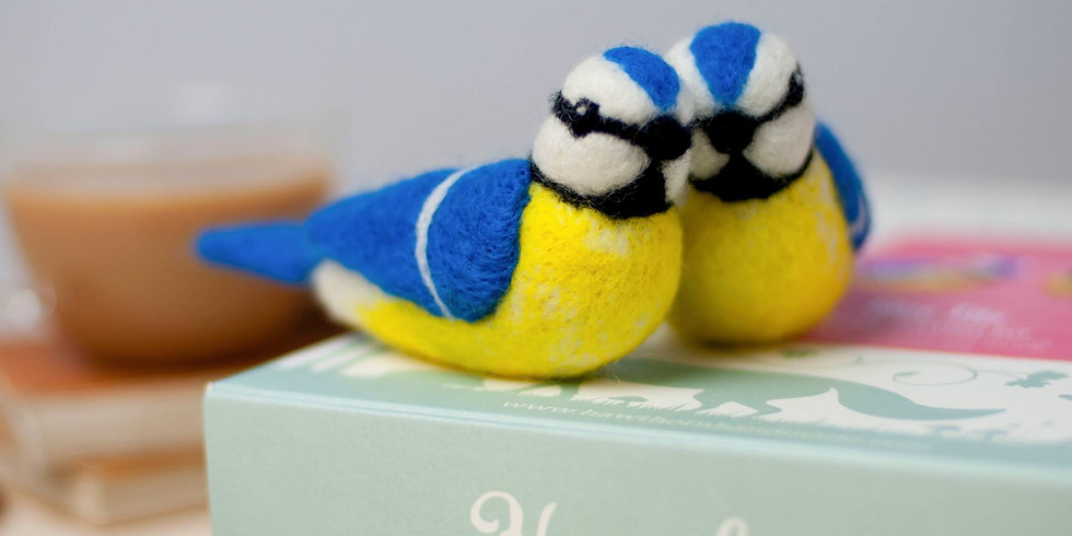 Needle felting bluebirds at Changes Coffee Shop