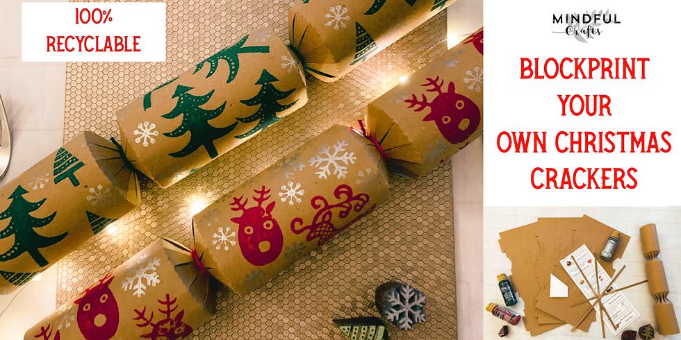 Block printing Christmas crackers workshop at Changes Coffee Shop